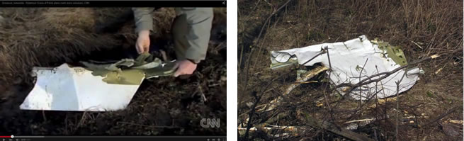 Fig. 16 (Above Left). Zone 3. A CNN jounalist Nic Robertson demonstrates a large fragment of the plane's shell [14]. Fig. 17 (Above Right). A large size fragment of the airplane shell found on the Kutuzow Street roadside [15].