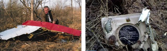 Fig. 18 (Above Left). A fragment of the left horizontal stabilizer lying in the woods about 5 meters from the Kutuzov Street. In the background, behind the trees, one can see the entire dart of the plane. Photo by Jan Gruszyński. Deformation of the detached parts excludes that detachment was due to a collision with a terrain obstacle. Fig. 19 (Above Right). A fragment of the main landing gear shock-absorber lying among the trees in zone 4 [16].
