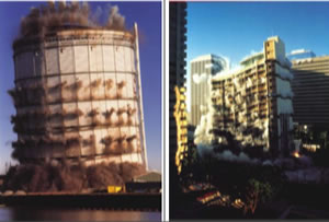 Fig. 36 (Left). Controlled demolition of a large container (left) and a tall building (right). The individual charges are fired in a carefully designed time sequence [24].