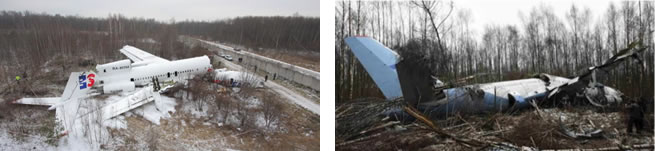 Above (Left) Fig. 5. The catastrophe of the Tu-154M airplane in Moscow on December 4, 2010. The catastrophe is of the 1A type -- the airplane hit the ground, no explosion. Above (Right) Fig. 6. The catastrophe of the Tu-204 airplane in Moscow on March 22, 2010. The catastrophe is of the 1A type -- the airplane hit the ground, no explosion.
