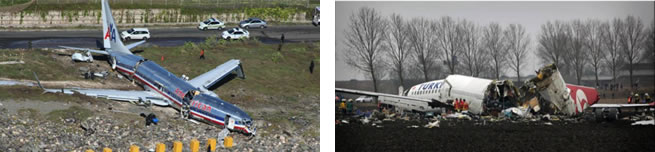Above (Left) Fig. 7. The catastrophe of the Boeing 737-800 airplane in Kingston, Jamaica on Dec. 22, 2009. The catastrophe is of the 1A type -- the airplane hit the ground, no explosion. Above (Right) Fig. 8. The catastrophe of the Boeing 737-800 airplane in Amsterdam, The Netherlands on Feb. 25, 2009. The catastrophe is of the 1A type -- the airplane hit the ground, no explosion.