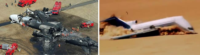 Above (Left) Fig. 9. The catastrophe of the MD-11 airplane in Tokyo, Japan on March 23, 2009. The airplane hit the ground, divided (perpendicularly to the airplane axis) into several segments. Then the plane exploded, the explosion occurred in the rear part, this part has been torn and opened longitudinally. Above (Right) Fig. 10. The crash test with the Boeing 727-200 in desert (Mexico) on April 27, 2012. The movie shows the way the construction is crashed after hitting the ground [7].