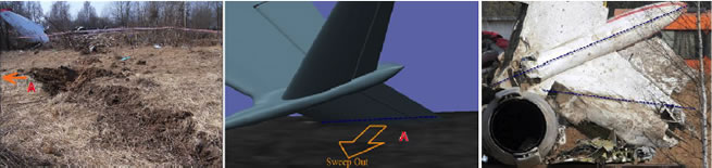 "Figure 4. Picture to the left shows the southern ground trace made by the tail. Note the distinct side push of soil at the area marked ""A"". The pictures to the middle and right show the line of damage of the root of the left horizontal stabilizer most likely when making the outwards sweep producing the push of soil at the area marked ""A""."