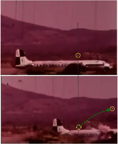 Figure 13. The same frames as shown by Czachor properly aligned by the background profile of the mountain. Now the forward movement of the circled debris is obvious, and the illusion of the part exhibiting an only upwards movement disappears. Note how the debris keeps the forward speed and its distance to the tail as reference point.