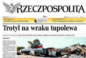 TNT on Tupolev's wreckage - Rzeczpospolita headline.