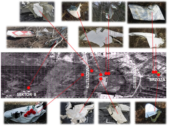 The locations on the ground of various parts from the left wing.