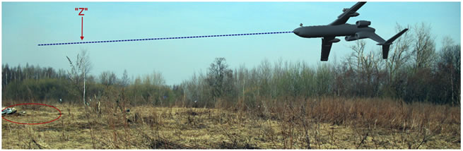 "The tree marked ""Z"" growing in the direct vicinity of the flight path, when the plane is flying from the Kutuzov Street (right side) to the place of crash (left side). The ground trace from the tail is visible and marked here with a red ellipse. The white part inside the ellipse shows the new position of the left horizontal stabilizer after Russians had moved it 35m closer to the crash site."