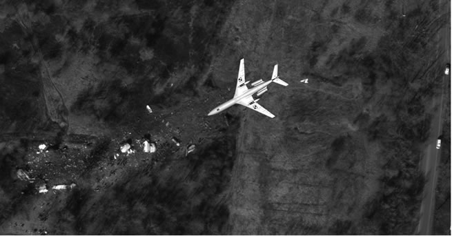 A general view of the crash site compared to TU154M in a reverse position in correct scale.